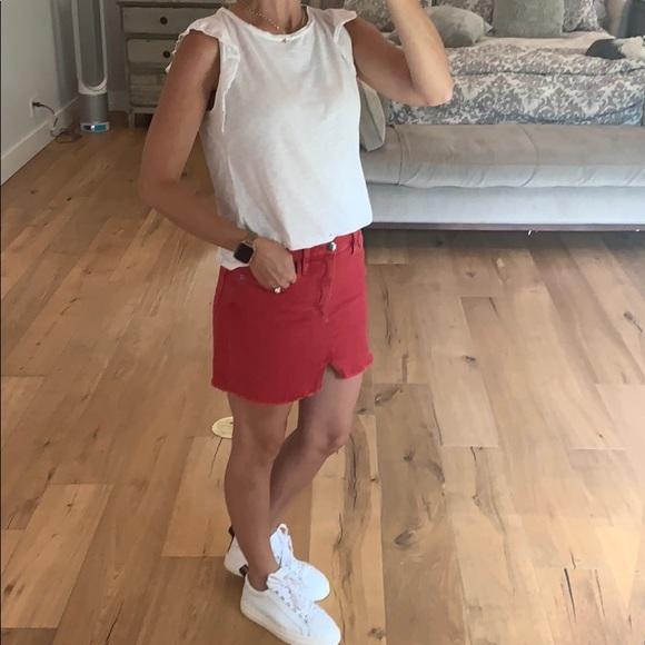 Frame Denim Dresses & Skirts - FRAME DENIM RED MINI SKIRT